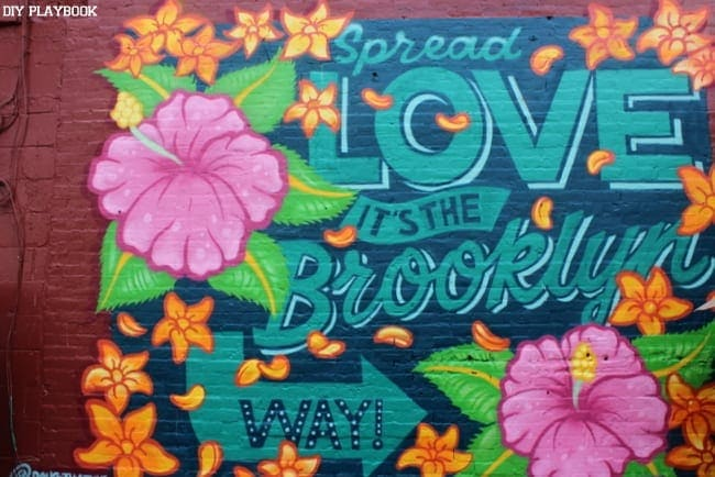 This lovely Brooklyn brick wall art is inspirational and colorful.