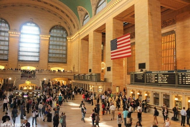 Grand Central Station in NYC is beautiful and busy.