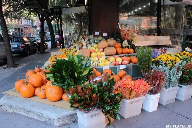 This awesome flower market has pumpkins and other plants.