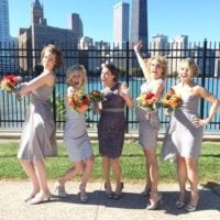 The bridal party on the shores of downtown chicago