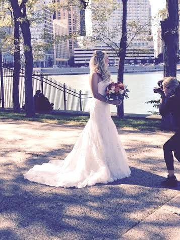 Casey's wedding photos being taken on the shores of downtown Chicago