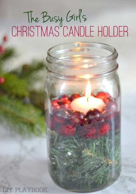 How to make a mason jar christmas candle holder the diy for Christmas candle displays