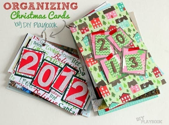 Organizing Christmas cards is a great way to declutter.