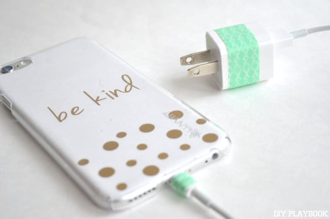 Use tape to customize and color code your phone chargers so they stay in the right spot.