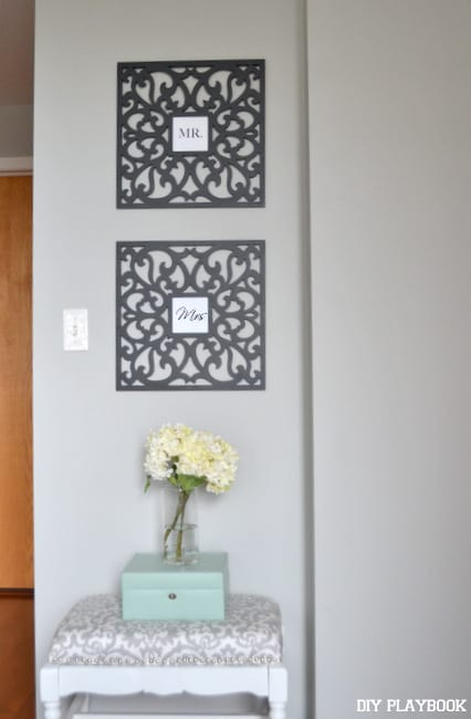 These Mr. and Mrs. wall signs add a personalized decor element to the room.