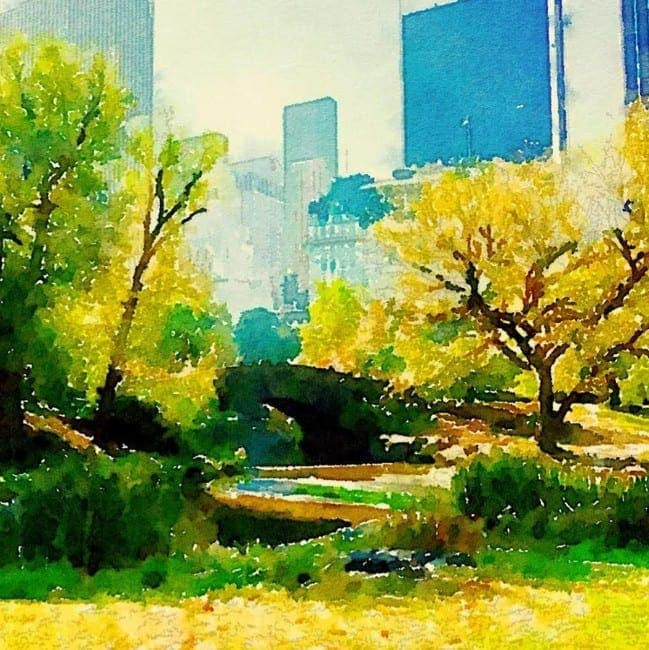 Watercolor print of Central Park in NYC