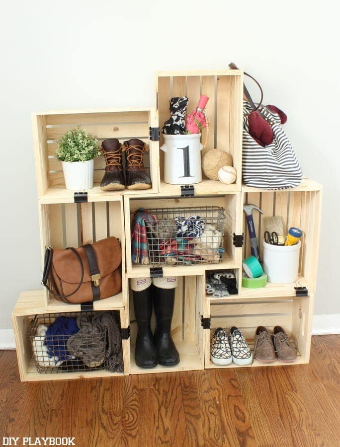 DIY crate storage is a super simple project that comes together fast.