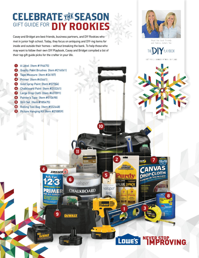 This holiday gift guide has all the essential DIY project supplies a DIY rookie could need!