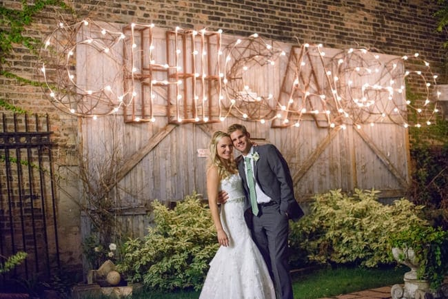 This light up Chicago sign adds a wonderful touch to the wedding's outside decor.