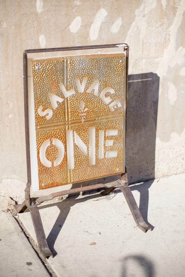 This Salvage One Antique sign is cute in front of the venue.
