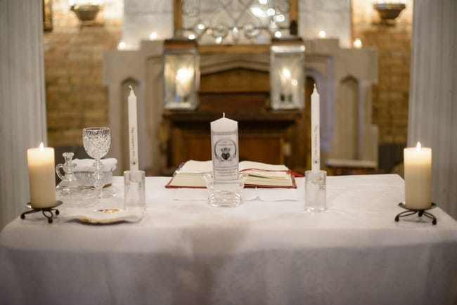 This beautifully lit table is perfect for a church wedding.