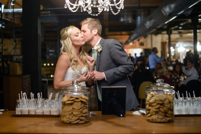 This milk and cookies station is a fun addition to the wedding reception.