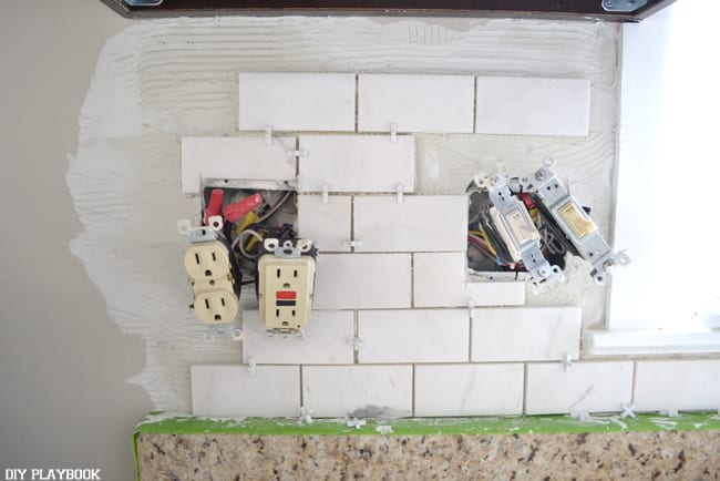 The backsplash in progress