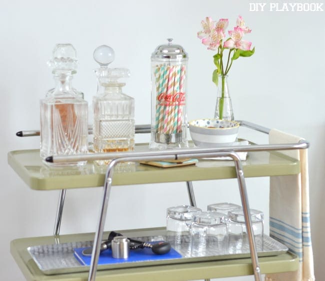 DIY bar accessories on this bar cart