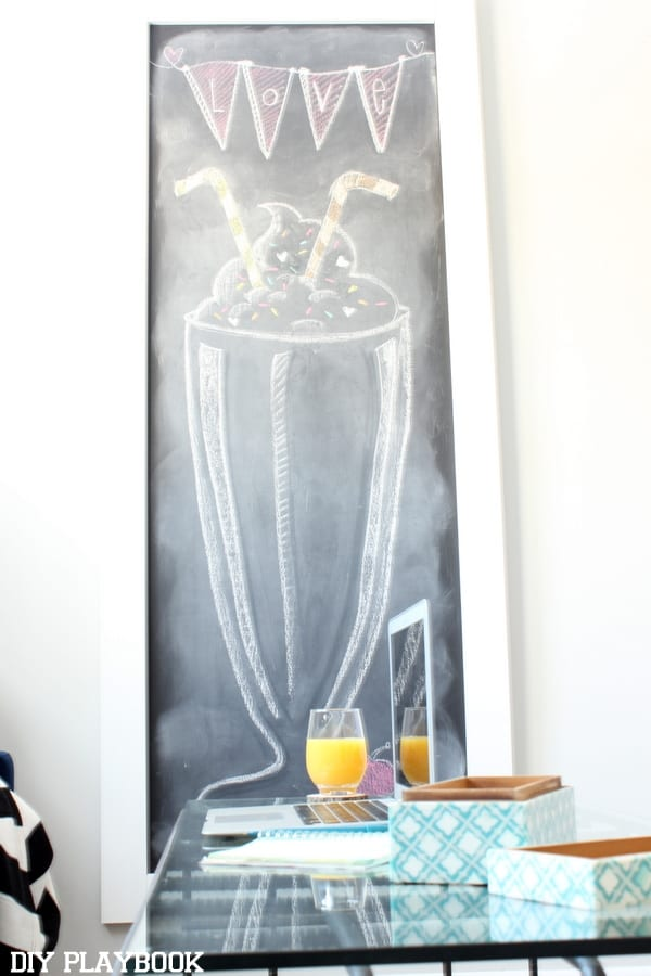 Our giant office wall chalkboard with a drawing of a milkshake