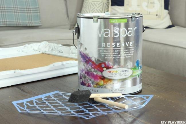 Assemble your stencil, paint brushes and Valspar paint.