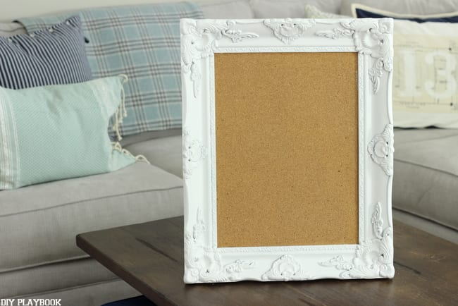 Take an old framed bulletin board and prop it upright.