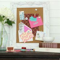 The stenciled cork board is fun and unique.