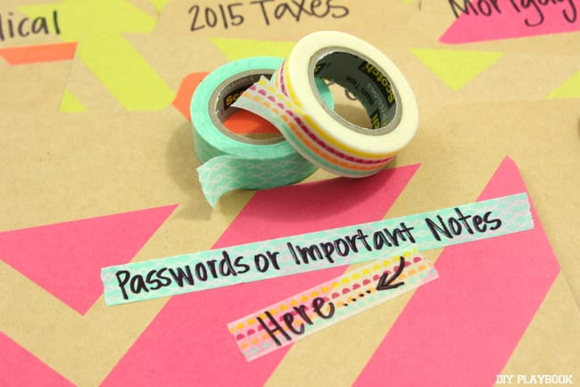 Washi tape is an inexpensive, but pretty touch to your file folders.