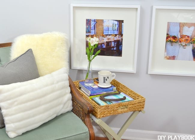 A symmetrical gallery wall ties a room together elegantly