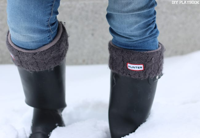 Boot socks are a must for snowy weather with the Hunter boots