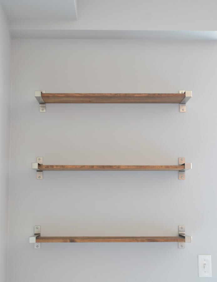 Bare wood shelves from IKEA are perfect for a nook in your home that needs an update.