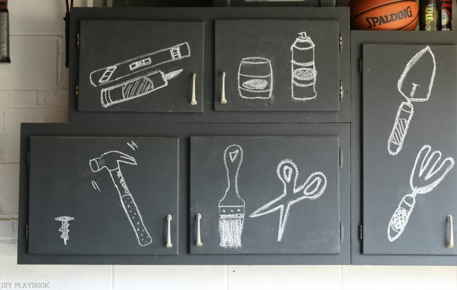 One great thing we did was to paint our garage cabinets with chalk paint so we could use fun labels.