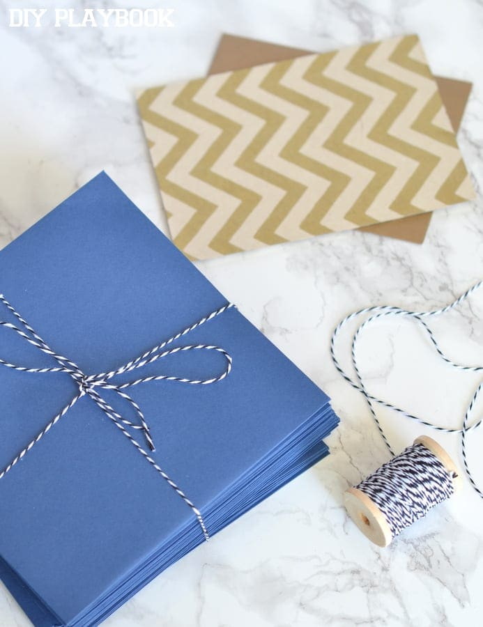 I used a few different supplies for the memory box including these lovely blue envelopes and some blue and white twine.