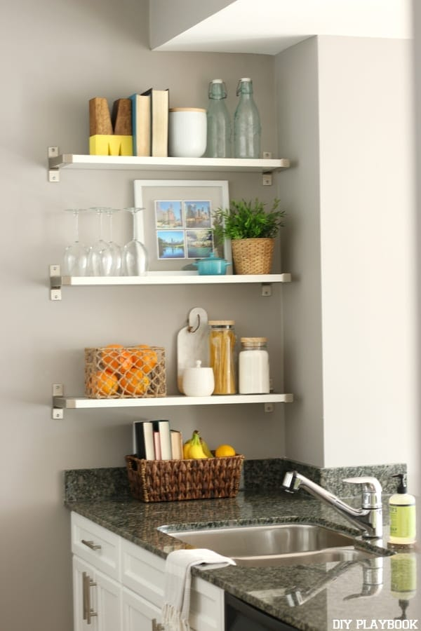 Shelves in the kitchen need to be hung properly so they can hold heavy dishes.
