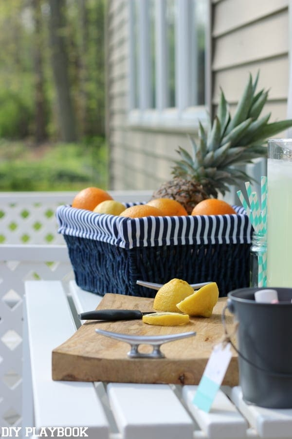 Outdoor bar cart area on a patio