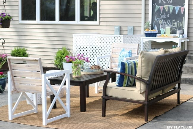 Furniture setup on an outdoor patio