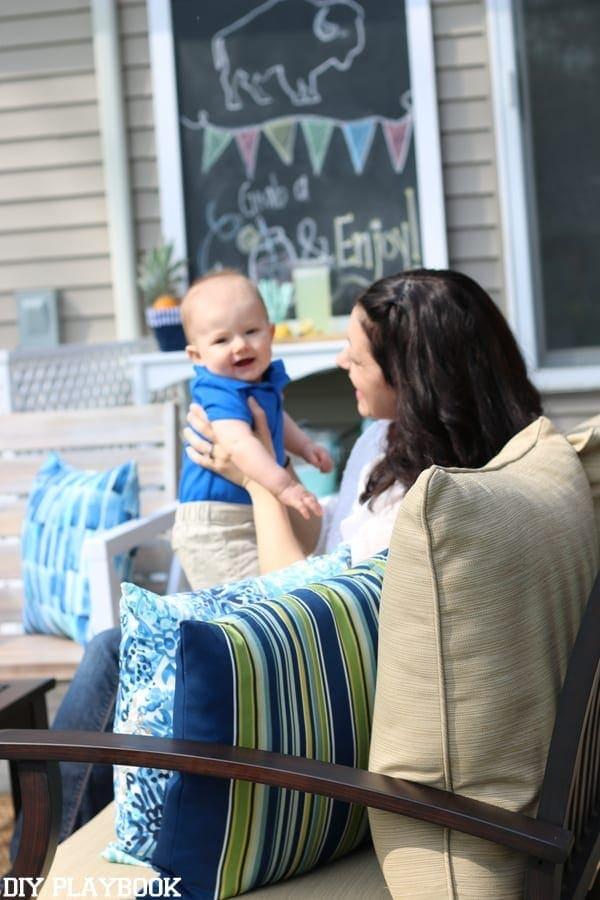 Kids enjoying their new patio