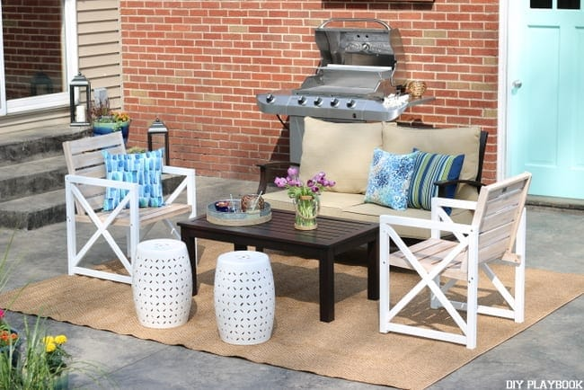 Lowe's patio makeover furniture setup
