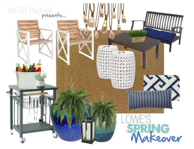 These decor materials from blue throw pillows to chic outdoor furniture are great for a spring patio makeover.