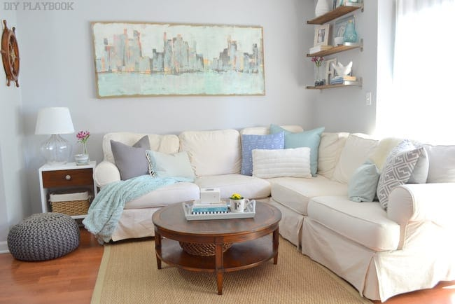 Casey's living room was comfy and cool - but look at all that art on the walls! If you need to learn how to fix nail holes in the wall, check out this easy DIY tutorial.