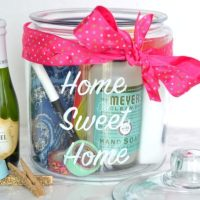 This sweet mason jar filled with goodies is a great housewarming gift.