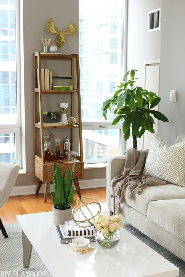 Simple wooden bookshelf with fun accents looks great in this condo redecoration.