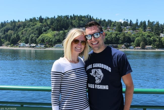Bridget and hubby on the ferry to Bainbridge Island!