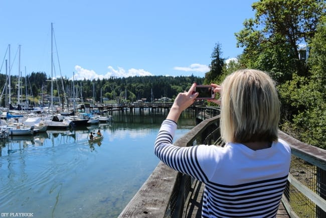 Bridget taking shots of Bainbridge Island.