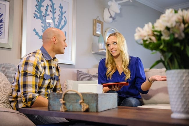 HGTC star Chip Wade and Bridget discuss DIY and decor on the living room couch.