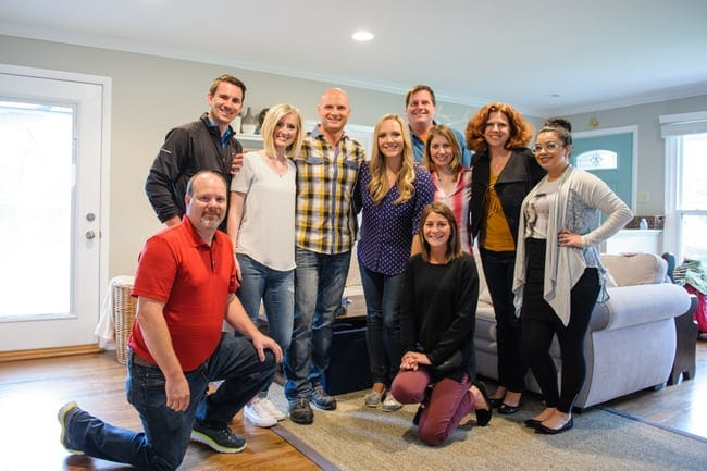 After filming the Liberty Mutual video, Bridget and Casey post with HGTV star Chip Wade and the entire crew.