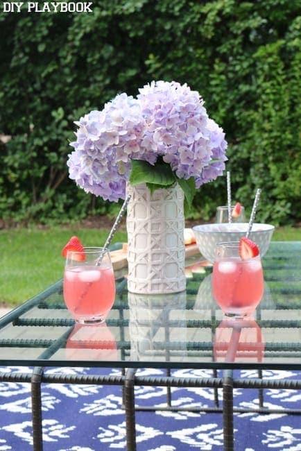 hydrangea patio backyard lemonade