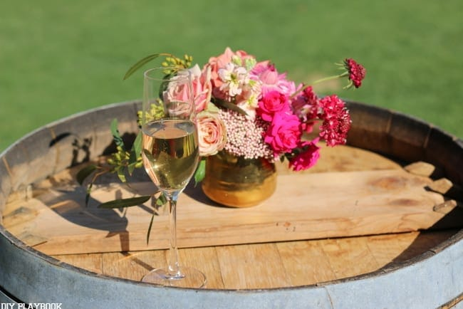 Wine and flowers at the blogger's dinner party