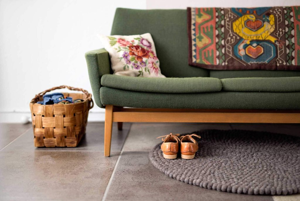 This simple felt ball rug is perfect for a small space