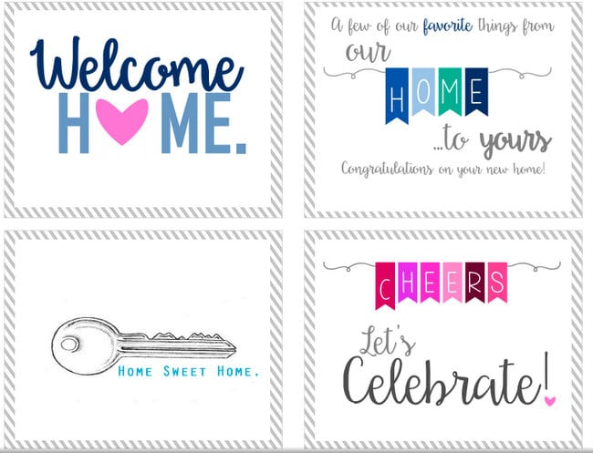 New Home Gift Printable. Which one is your favorite? Welcome Home, Home Sweet Home or Let's Celebrate!