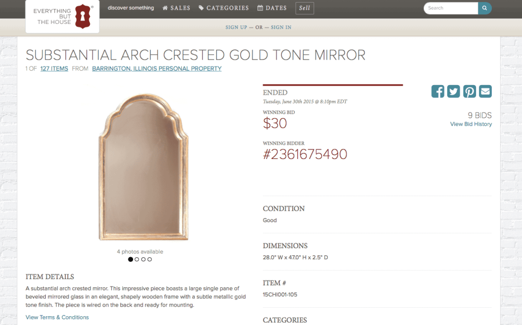 this arch crested gold frame mirror was an amazing deal from Everything But The House