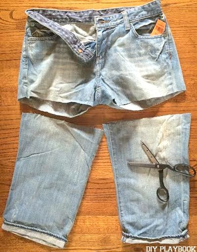 Start with a longer length for your DIY jean shorts. You can always go back and trim them shorter!
