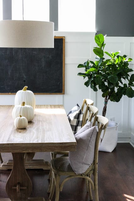 these simple white pumpkins are a perfect and simple fall-themed centerpiece