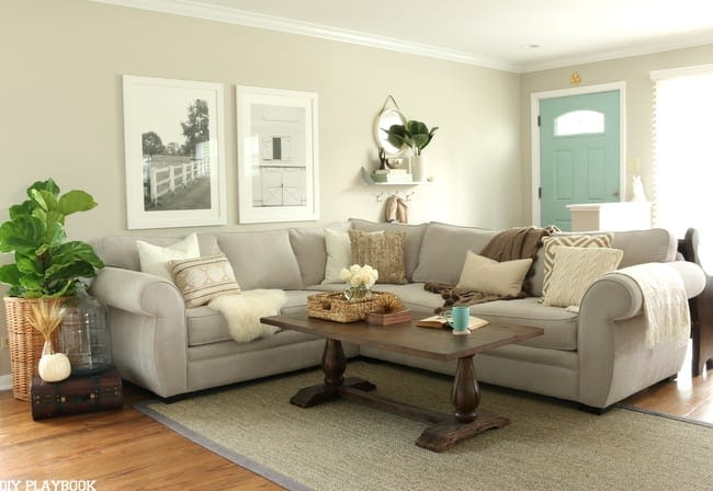 This cool-toned living room is perfect for fall