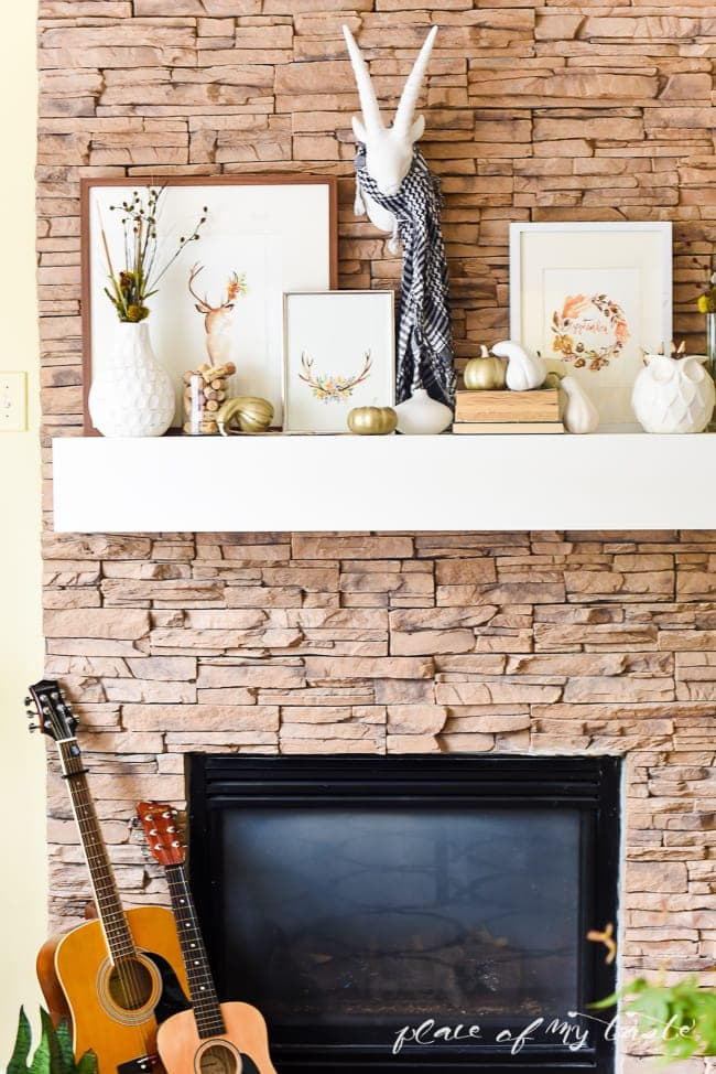 these fall themed mantle has simple touches
